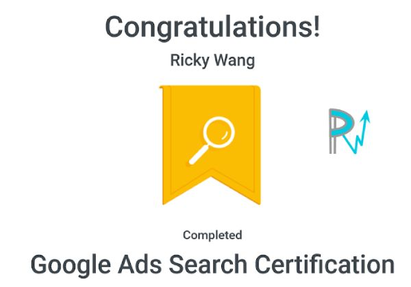 certificate ricky wang