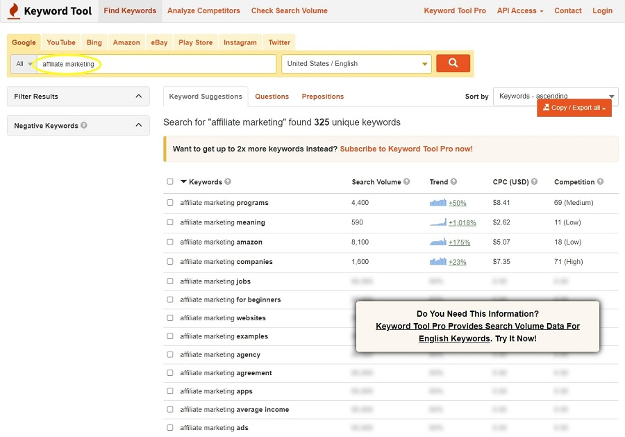 Keyword Tool search for Affiliate Marketing