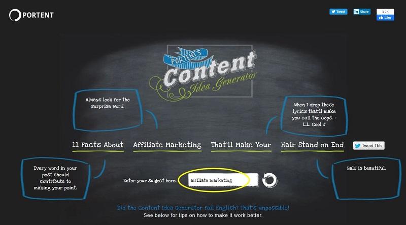 Portent Content idea generator Affiliate Marketing