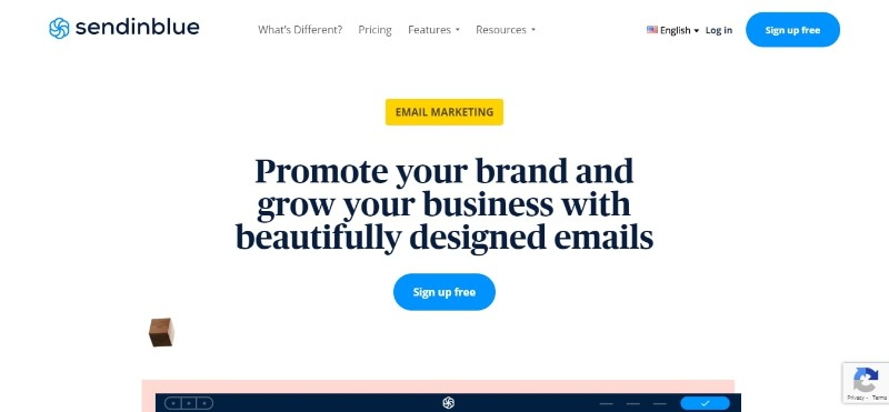 SendInBlue Main Page