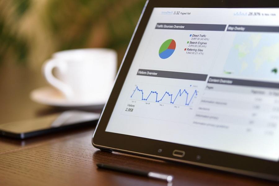 digital marketing ahrefs graph on tablet device