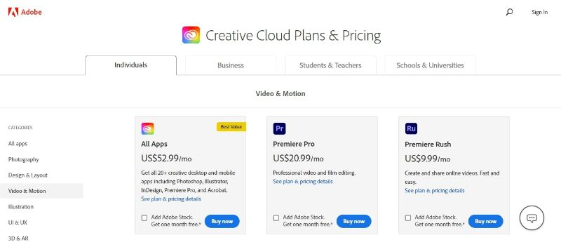 Adobe Premiere Pro - Buying Page