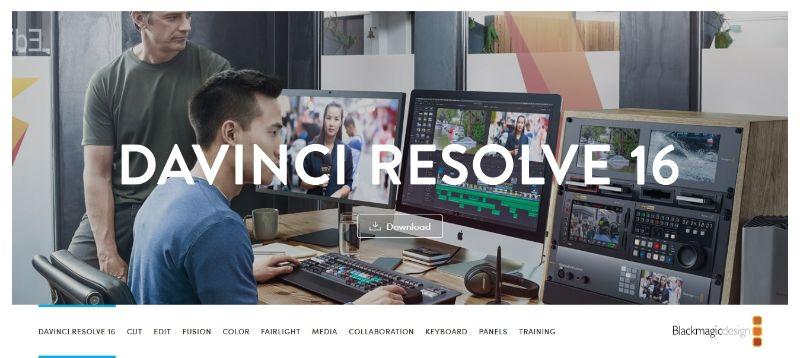DaVinci Resolve - Main Page