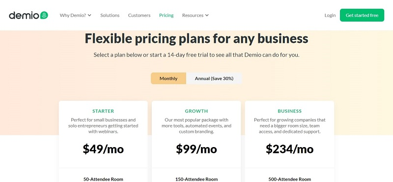 Demio Pricing Monthly