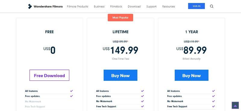FilmoraPro - Buying Page