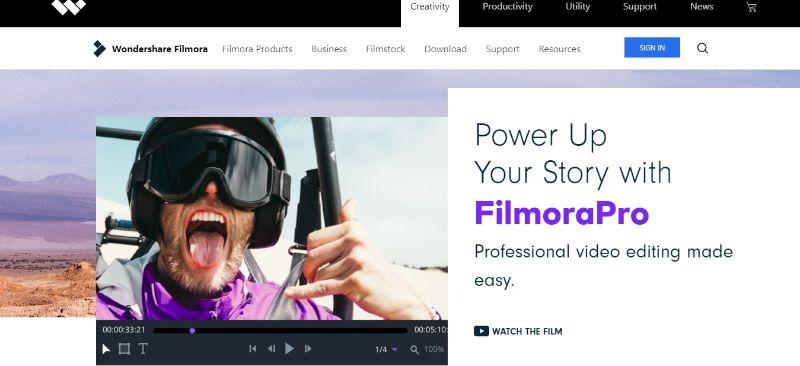 FilmoraPro - Main Page