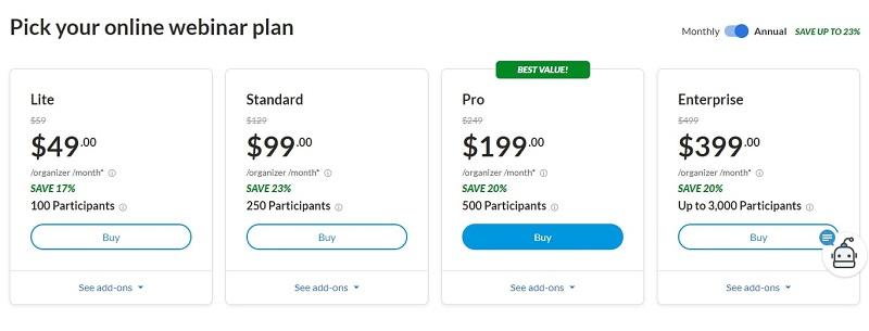 GoToWebinar Pricing Yearly