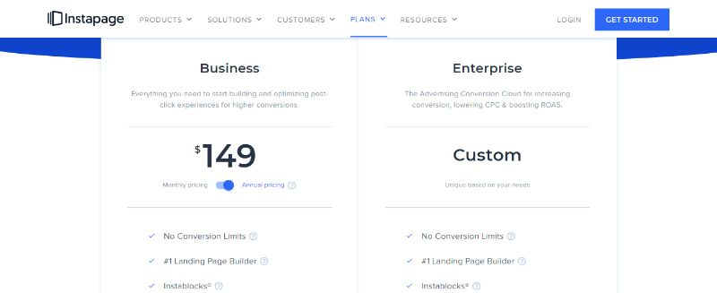 Instapage Landing Page Software Pricing