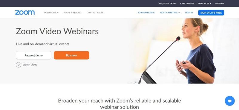 Zoom Video Webinar Main Page