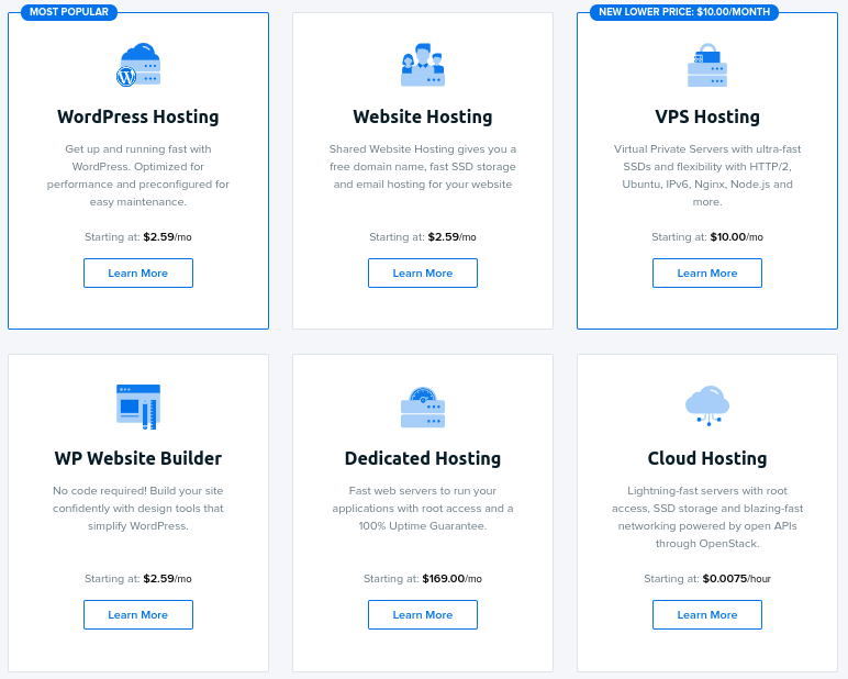 DreamHost best web hosting services pricing