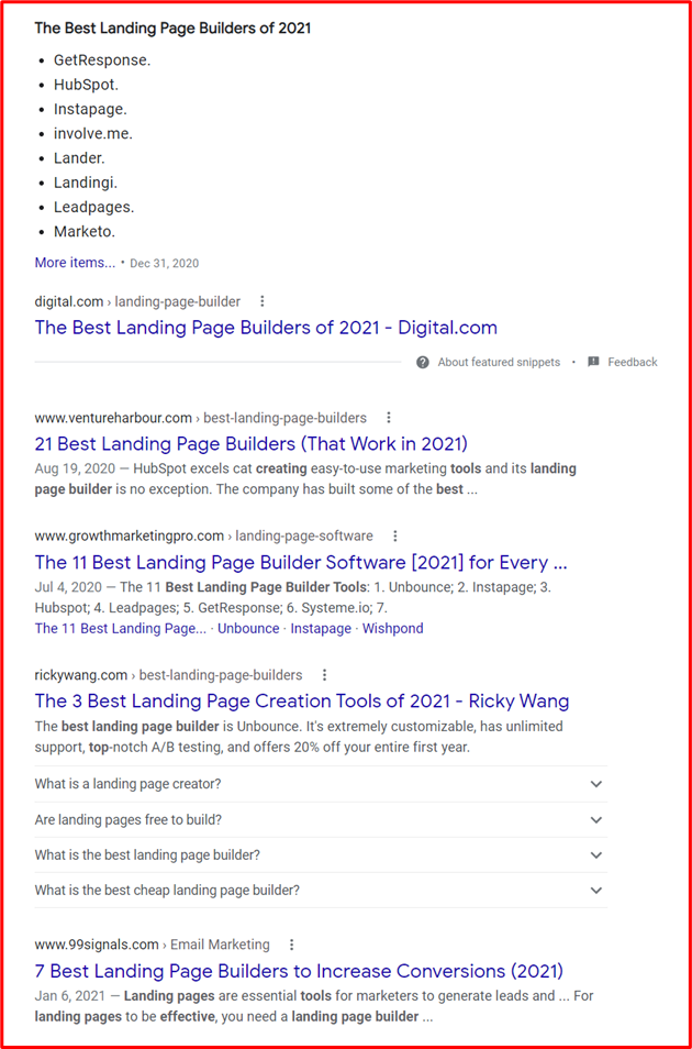 serp results landing page builder
