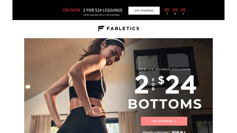fabletics landing page design examples