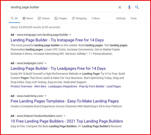 landing page builder serp