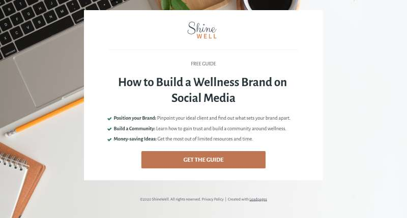 free guide landing page template