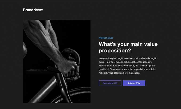 product sales landing page template
