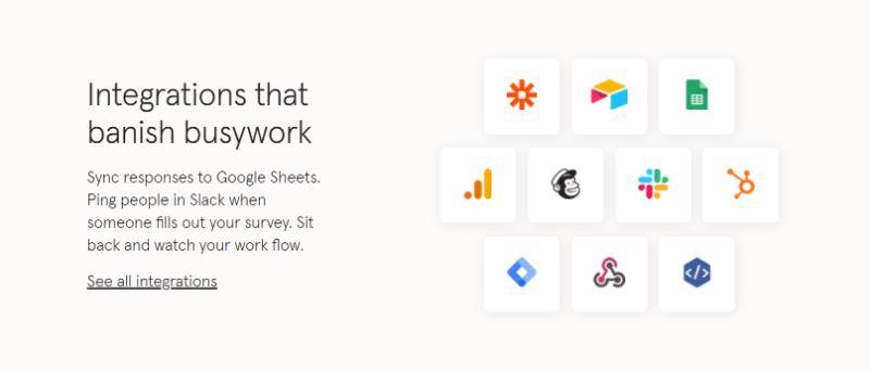 typeform survey software integrations