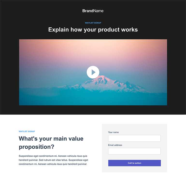 instapage waitlist landing page template
